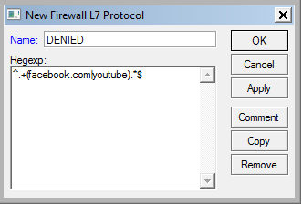 Mikrotik : How to Block Facebook – Youtube and Other sites using L7